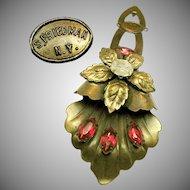 Vintage S. FRIEDMAN N.Y. Floral Dress Pin Clip w/ Fuchsia Rhinestones c.1940's