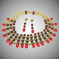 EYE CANDY by INDUSTRIA Argentina Bib & Earrings of Cranberry & Red Glass