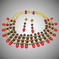 INDUSTRIA Argentina EYE CANDY Bib & Earrings Art Glass 'n Gilt