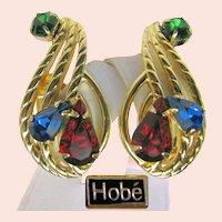 ~Hobé Vintage CLIMBER Earrings ~ Jewel-tone Rhinestones ~ Pat. Pend.~