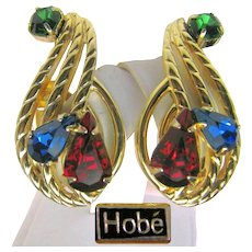 Vintage Hobé Jewel-tone Rhinestone CLIMBER Earrings Pat. Pend. pre-1955