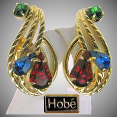 Vintage Hobé Jewel-tone Rhinestone CLIMBER Earrings Pat. Pend. pre-1955