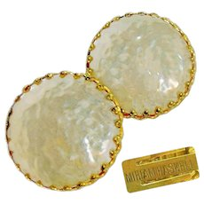 Vintage MIRIAM HASKELL Classic Mobe Glass Pearl Earrings w/ Crown Settings