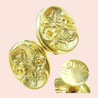 ~MARINO Victorian Revival ~ Rhinestone Earrings ~ Circa 1940's~
