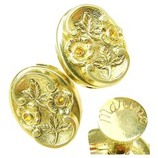 VINTAGE MARINO Victorian Revival Earrings w/ Rhinestones c.1940's