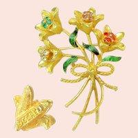 Corel Vintage Brooch, Bouquet of Jewel-tone Rhinestone Flowers
