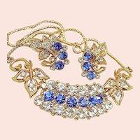 Floral Vintage Necklace 'n Earrings, Sapphire Rhinestones
