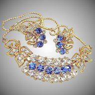 Vintage Sapphire Rhinestone Floral Necklace 'n Earrings