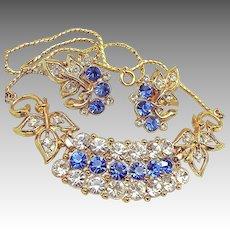 Vintage Sapphire Rhinestone Floral Necklace 'n Earrings