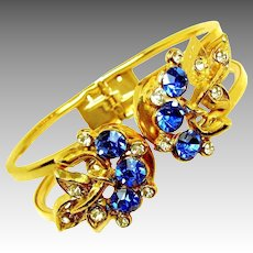 Vintage Sapphire Rhinestone Floral Clamper Bracelet
