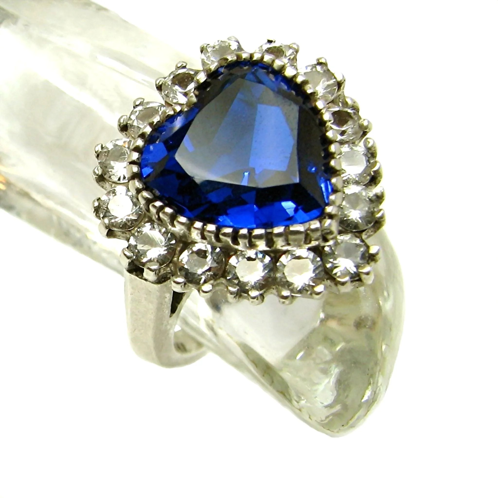 silver ring youtube sterling real zirconia watch blue cubic simulated sapphire rings