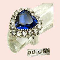 ~DuJay Sterling Silver Ring ~ Sapphire Heart (Simulated)~
