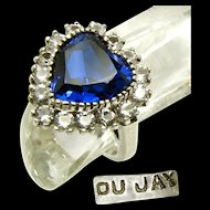 Rare DuJay Sterling Silver Ring w/ Simulated Heart Sapphire