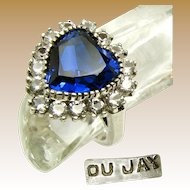 DuJay Sterling Silver Ring w/ Simulated Heart Sapphire
