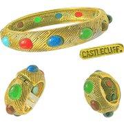 Vintage CASTLECLIFF Glass Jewel Studded Bracelet 'n Earrings-Mogul Jewels of India Style