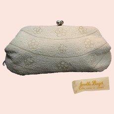 JORELLE Vintage Designer Clutch ~Rhinestone KISS Clasp ~Glass Pearl Beaded