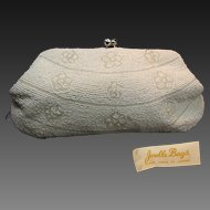 Vintage JORELLE  Glass Pearl Beaded Evening Clutch w/ Rhinestone KISS Clasp