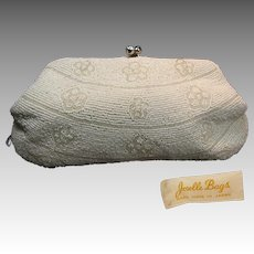 Vintage JORELLE Glass Pearl Beaded Clutch w/ KISS Clasp 'n Rhinestones