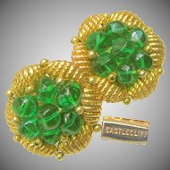 Vintage Castlecliff Gilded Nest Earrings, Emerald Glass Nuggets c.1950's
