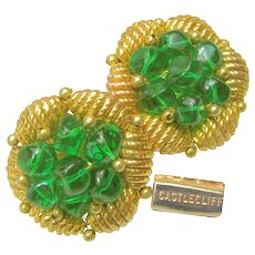 Vintage Castlecliff Gilded Nest Earrings /w Emerald Glass Nuggets  c.1950's