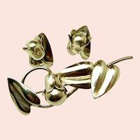 McCLELLAND BARCLAY Vintage Sterling Floral Brooch 'n Earrings c.1930's