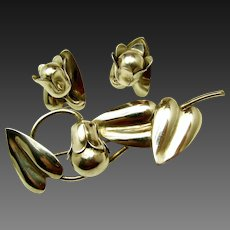 Vintage McCLELLAND BARCLAY Sterling Floral Brooch 'n Earrings c.1930's