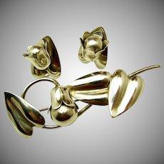 Vintage McCLELLAND BARCLAY Sterling Floral Brooch 'n Earrings c.1930's