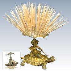 CHERUB Riding-a-Gilt TURTLE Toothpick Holder, Pairpoint c.1894