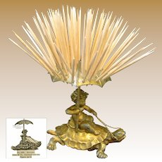 CHERUB Riding-a-Gilt TURTLE Toothpick Holder, Pairpoint c.1894