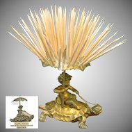 CHERUB Riding Saddled TURTLE Toothpick Holder by Pairpoint c.1894 NO MONO