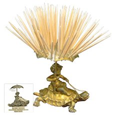 CHERUB Riding Saddled TURTLE Toothpick Holder by Pairpoint c.1894