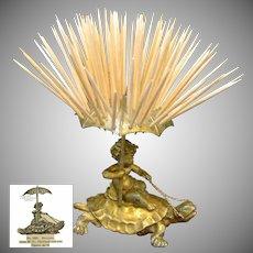 CHERUB Riding Saddled TURTLE Toothpick Holder by Pairpoint c.1894 NO MONO