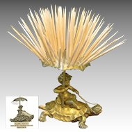 CHERUB Riding TURTLE Toothpick Holder, Pairpoint c.1894 NO MONO
