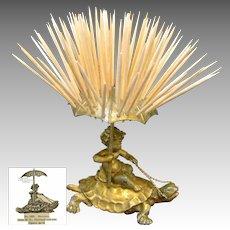 CHERUB Riding TURTLE Toothpick Holder, Pairpoint c.1894 NO MONO