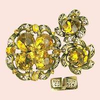 ~c.1952 HollyCraft Copr ~ Vintage Brooch 'n Earrings ~ Honey Rhinestones~
