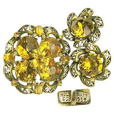 Vintage HollyCraft Copr 1952 Rhinestone Brooch 'n Earrings