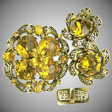 HollyCraft Copr 1952 Vintage Brooch 'n Earrings, Honey Rhinestones