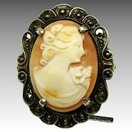 Handcrafted ART NOUVEAU Shell CAMEO a STERLING 'n Marcasite Frame