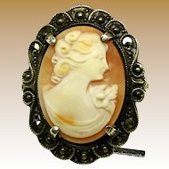 Handcrafted ART NOUVEAU Shell CAMEO in STERLING 'n Marcasite Frame