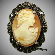 Shell CAMEO in STERLING 'n Marcasite Frame, ART NOUVEAU Handcrafted Antique