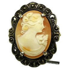 Handcrafted ART NOUVEAU Shell CAMEO w/ STERLING 'n Marcasite Frame