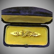 Art Nouveau 15K Gold Floral Brooch w/Seed Pearls 'n Fitted Case