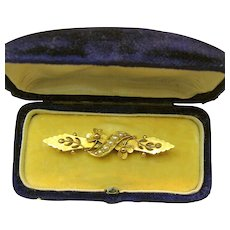 Art Nouveau 15K Gold Floral Brooch, Seed Pearls c.1901 Fitted Case