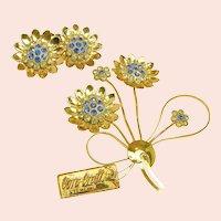 ~COROCRAFT STERLING Bookpieces~ ~Brooch 'n Earrings c.1940's ~ ~Lovely Rhinestone Flower Set~