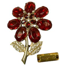 Vintage Red Rhinestone Flower Dress Clip Pat.1801128 c.1931