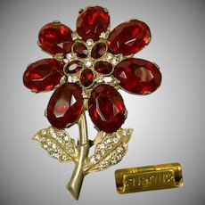 Large Flower Dress Clip, Red Rhinestones c.1931 Pat.1801128