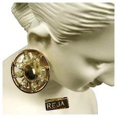 Vintage Reja Rhinestone Earrings c.1940's