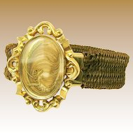 VICTORIAN Sentimental Plaited Hair Bracelet w/ Framed Hair Plume c.1870's