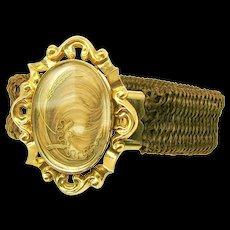 VICTORIAN Sentimental Plaited Hair Bracelet w/ Framed Hair Plume c.1870's
