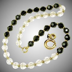 Signed SIMMONS Art Deco Original Chain 'n More Crystal Day / Night Necklace c.1930's